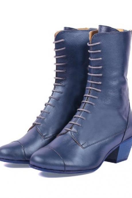 Made To Order Women's Blue Derby High Ankle Genuine Leather Handmade Formal Boots