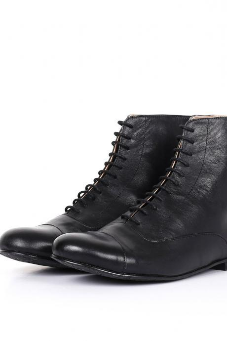 Women's New Black Derby Cap Toe Lace Up Real Leather Handmade High Ankle Boots