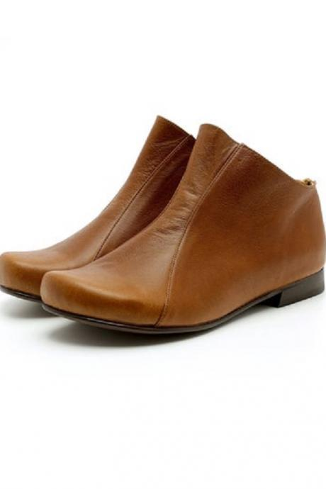 New Style Brown Derby Flat genuine Leather High Ankle Handmade Women's Booties
