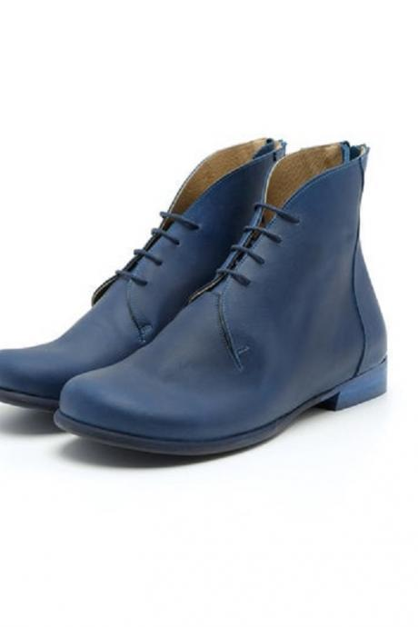 Blue Derby Wide Chukka Lace Up Vintage Leather Flat Handcrafted Women Ankle Boots