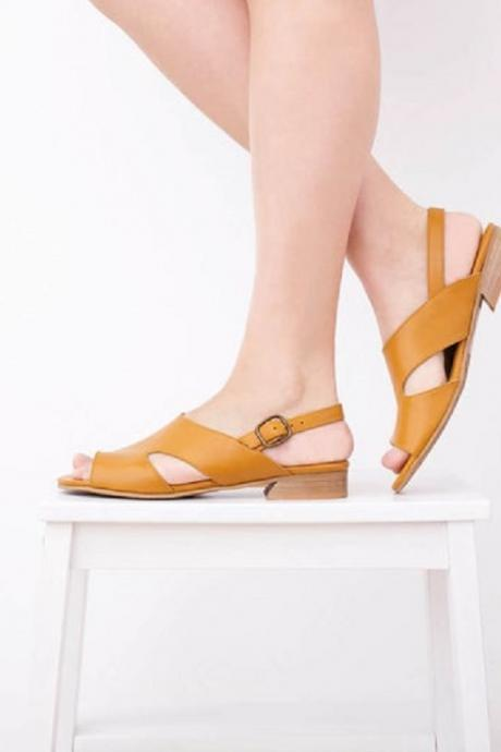 Yellow Leather Handmade Cutout Open Toe Fashion Women's Flat Sandals