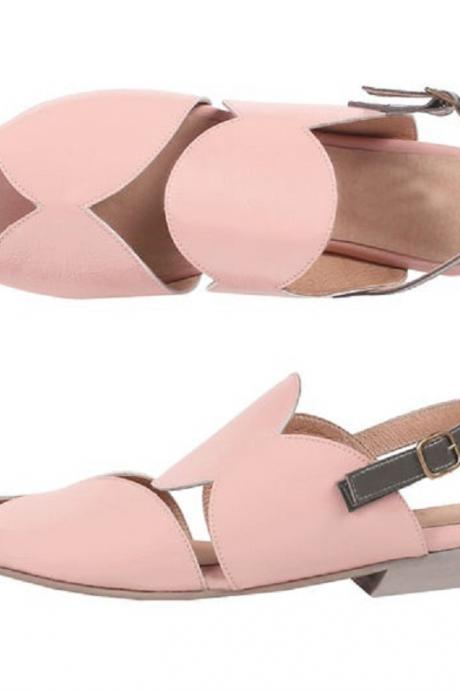 Pastel Pink Gray Strap Geometric Cutout Open Toe Buckle Attractive Leather Sandals