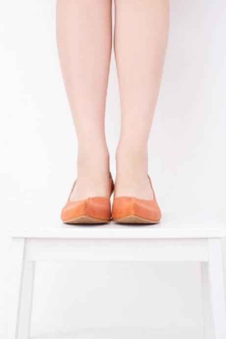 Orange Split Pointed Toe Handmade Leather Wide Chunky Heel Pumps Casual Wear Shoes