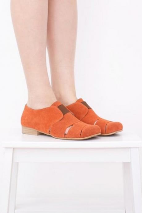 Women's Orange Suede Leather Unique Cutout Stylish Dress Shoes