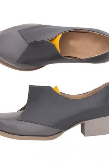 Two Tone Women's Gray Black Oxford Chunky Heel Leather Handcrafted Formal Shoes