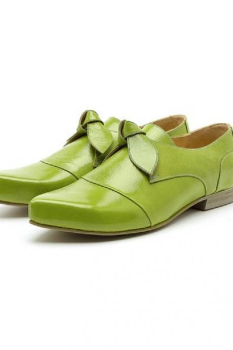 Parrot Green Leather Handmade Butterfly Design Women's Attractive Dress Shoes