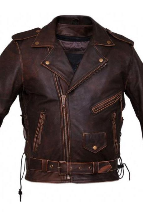 Chosen By Bikers Brown Color Zipper Pockets Lapel Collar Belted Genuine Leather Men Racer Jacket