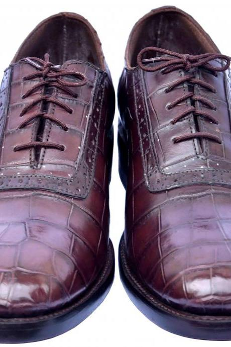 Perfect Wear Red Oxide Pointed Toe Lace Up Premium Real Crocodile Leather Shoes