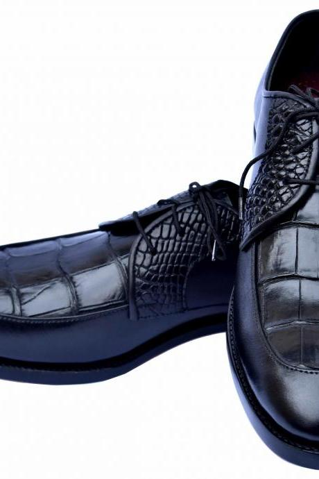 Crowning Black Color Moc Toe Genuine Upper Crocodile Leather Men Formal Shoes