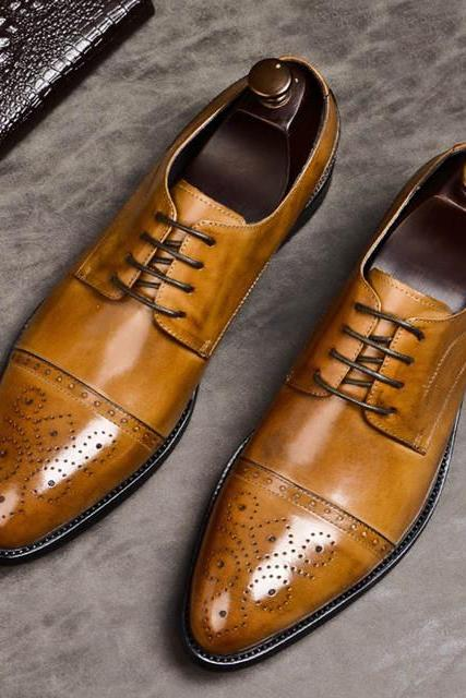 Gorgeous Tan Brown Patina Gorgeous Shape Derby Style Genuine Leather Men Shoes