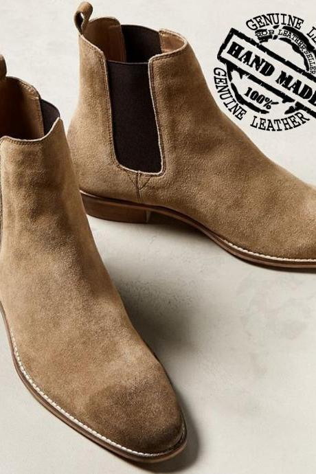 SMART CHOICE Hand Stitched Beige Color Genuine SUEDE LEATHER Step Above Boots