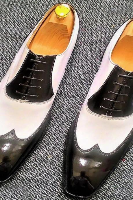 Saddle Two Tone Black & White Premium Leather Balmoral Style Men Business Shoes