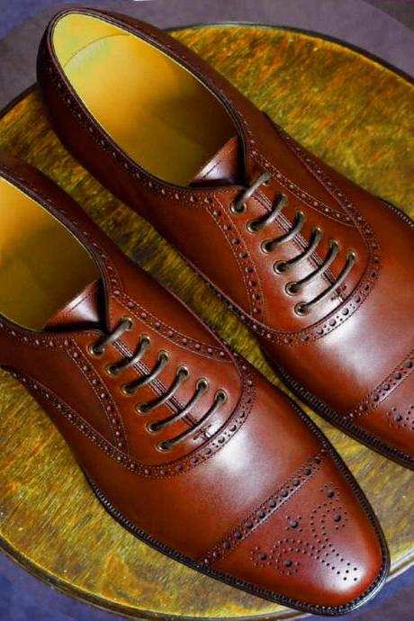 Made To Order Gorgeous Brown Out Class Design Genuine Leather Oxford Formal Business Shoes