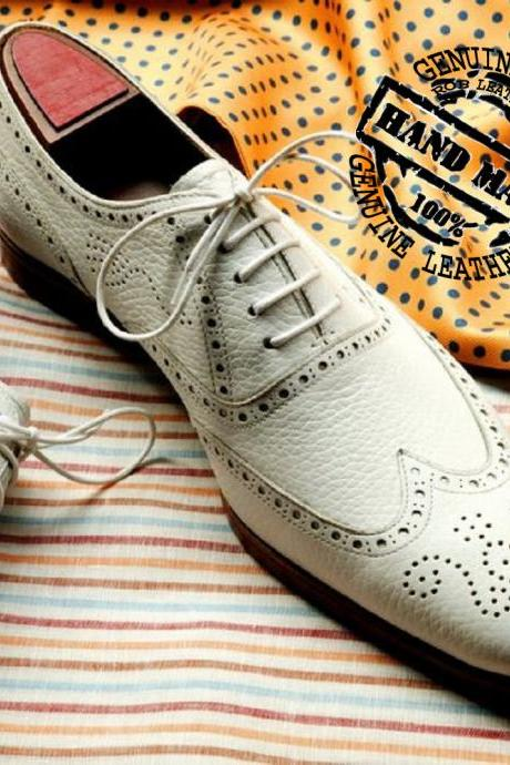 Elegant Design Genuine Leather Men White Oxford Real Leather Dress Shoes