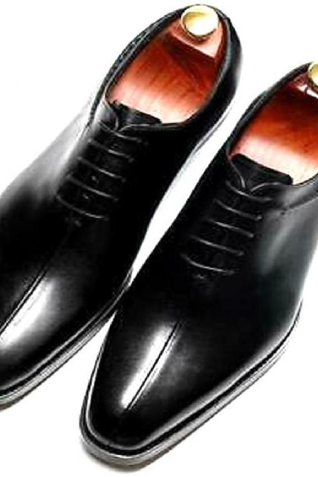 Customize Black Color Pure LEATHER Split Toe BALMORAL Style Formal School Shoes