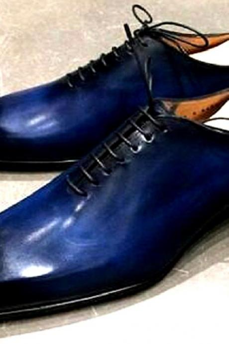 Super Egyptian Blue Patina Whole Cut OXFORD Genuine LEATHER Formal Business Shoes