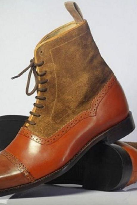 Foot Wear Freaks Orange And Brown Upper Suede LEATHER Men High Ankle BOOTS