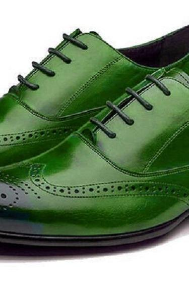 Fashionable Nice Green Full Brogue BALMORAL Original LEATHER Dress Shoes