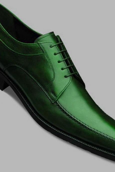 Lovely BLUCHER Style In Green Color Genuine LEATHER Derby Wedding Shoes