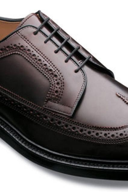 Customize Chocolate Brown Longwing Derby Medallion Premium LEATHER Dress Shoes