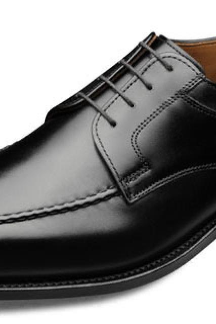 Ideal Design Black Color Real LEATHER DERBY Style Men Formal Leather Shoes
