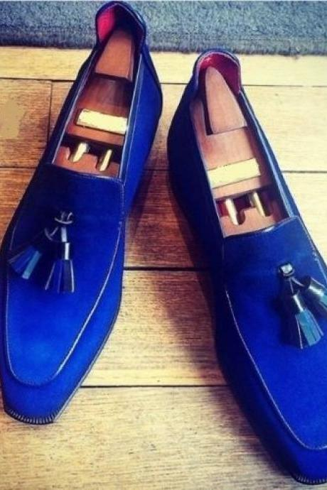 Perfect Tassel Design Super LOAFER Style Blue Color Premium LEATHER Party Shoes