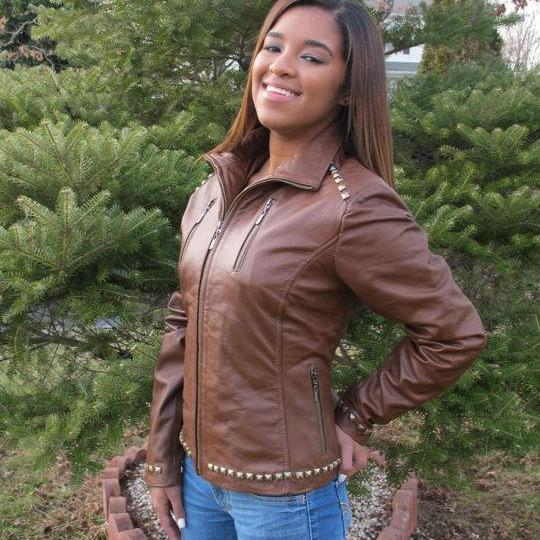 Handmade Woman Brown Classic Item Studded Real Leather Jacket