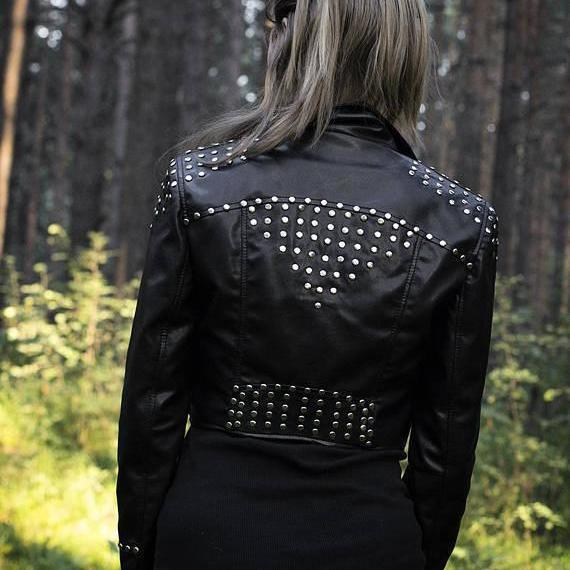 Woman Studded Rock n Roll Punk Rock Cropped Genuine Leather Jacket