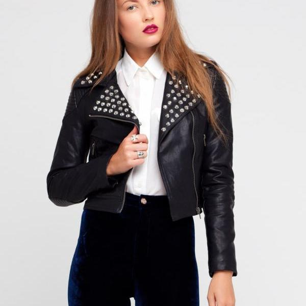 Made To Order Women Silver Studded Black Color Pure Leather Jacket