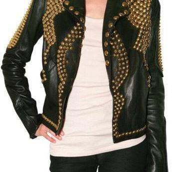 Made To Order Black Color Women Gold Studded Leather Jacket