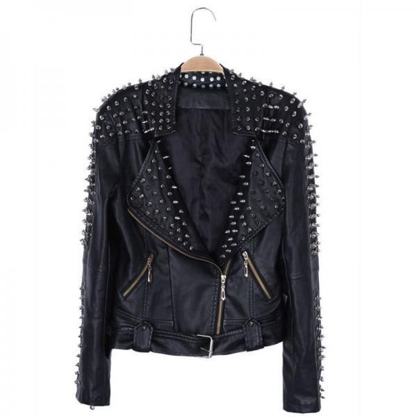 Women's Silver Studs Punk Spiked Black Color Magnificent Leather Jacket
