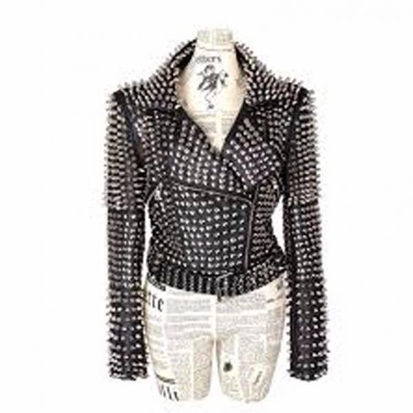 Customized Handmade Style Women's Punk Spike Full Studded Magnificent Leather Jacket