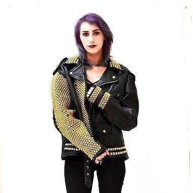 Handmade Women's Black Golden Studs Genuine Leather Jacket