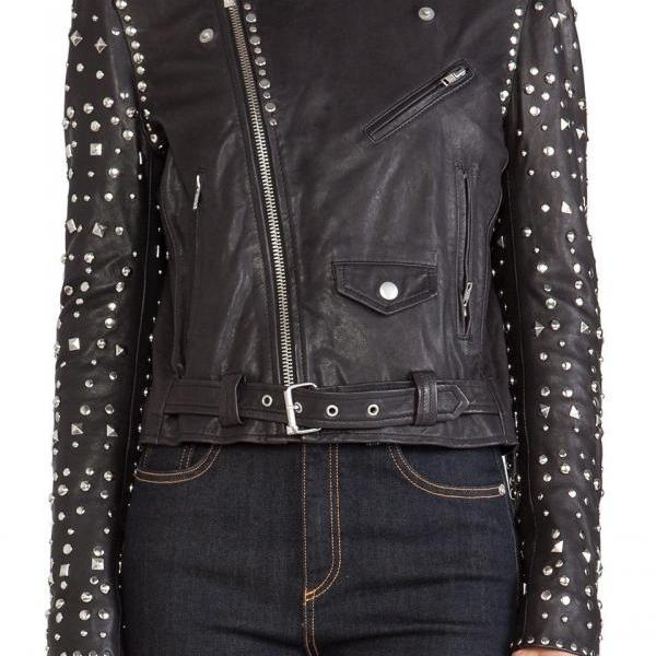 Made To Order Women's Handmade Silver Studded Black Color Superior Leather Jacket