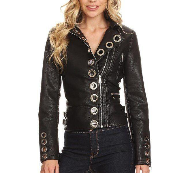 Handcrafted Women's Black Color Studded Eyelet Moto Leather Jacket