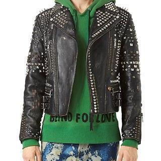 Made To Order Men's Silver Studded Black Premium Leather Jacket