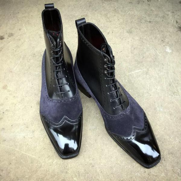 Customized Handmade Black High Ankle Navy Blue Suede Oxford Leather Laceup Shoes
