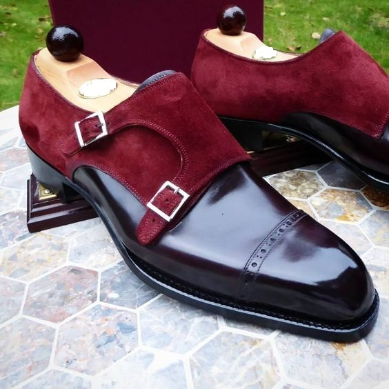 Men's New Double Monk Maroon Suede Black Leather Shoes