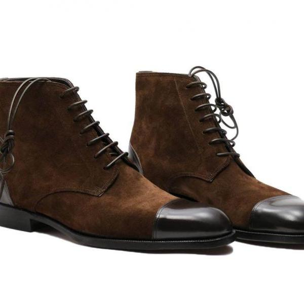 Men's High Ankle Two Tone Brown Suede Leather Chukka Lace up Real Leather Boots