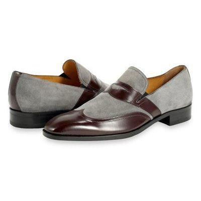 Handmade Men's Premium Stitched Cap Toe Grey Suede Brown Leather Shoes