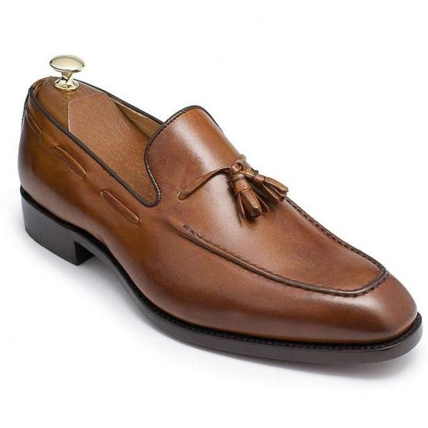 Handmade Men's Brown Tassel Loafer Genuine Leather Black Sole Shoes