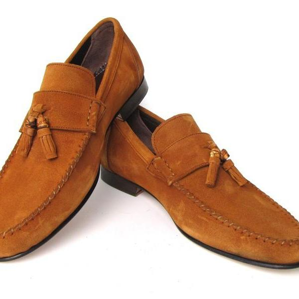 Men's Brown Tassel Loafer Formal Dress Genuine Suede Leather Shoes