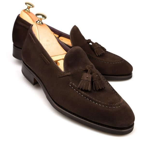 Handmade Men's Brown Tassel Loafer Magnificent Suede Leather Shoes