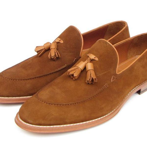 Handmade Men's New Brown Tassel Loafer Genuine Suede Leather Formal Dress Shoes