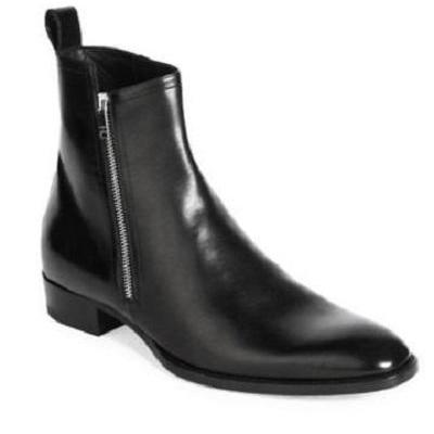 Handcrafted Men's Black Side-Zip Ankle High Slip on Genuine Leather Boots