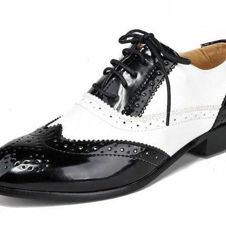 Men's Black White Contrast Oxford Brogue Toe Wingtip Vintage Leather Shoes