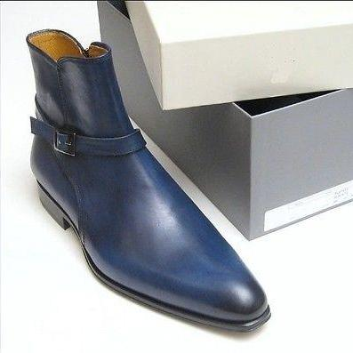 Handmade Men's Blue Color High Ankle Buckle Strap Around Jodhpur Leather Boots