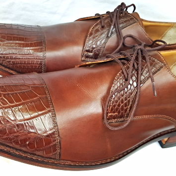 Handmade Men Oxford Brown Crocodile Genuine Leather Cap Toe Lace up Exotic Shoes