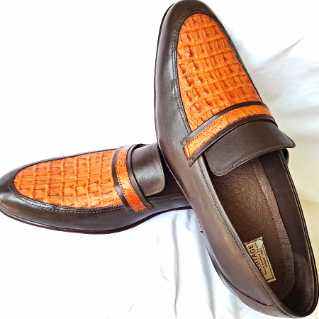 Handmade Men's Crocodile Genuine US Tan Brown Moccasin Loafers Formal Exotic Leather Shoes