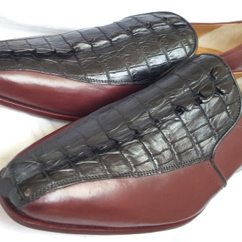 Customized Handmade Men's New Oxford Honrback Tail Crocodile Black Brown Genuine Leather Loafers US Size 10